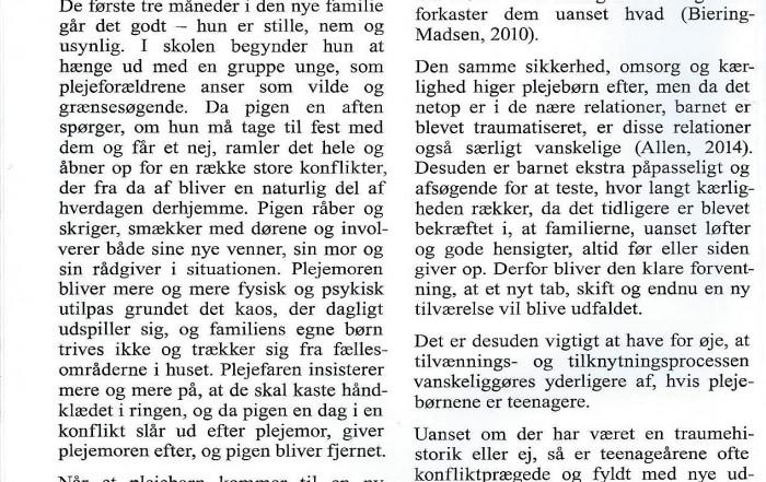 Karina Emma Væggemose, Janne Østergaard Hagelquist,, Plejefamiliernes Landsforenings månedsblad, udviklingstraumer og mentaliseringsbaseret arbejde.